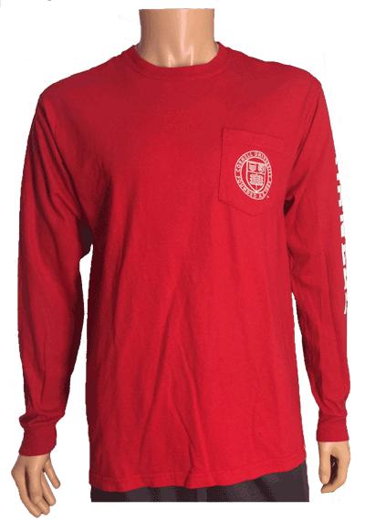 Cornell Comfort Color LS Pocket Tee-Red