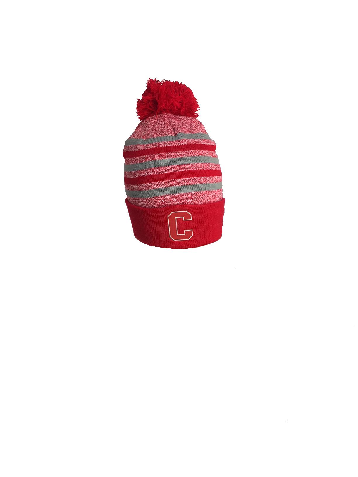 Cornell Marled Yarn Cuff Hat with Pom