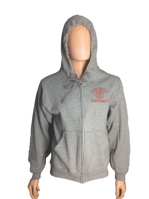 Cornell Full Zip Hooded Sweatshirt w. Emblem-Oxford