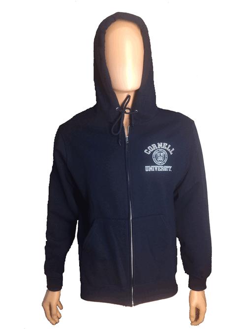 Cornell Full Zip Hooded Sweatshirt w. Emblem-Navy