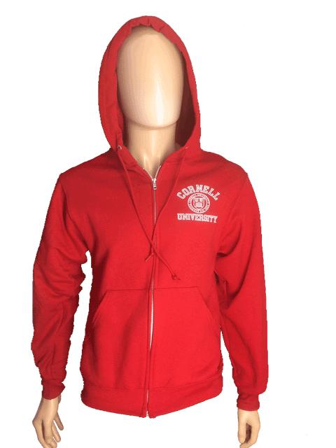 Cornell Full Zip Hooded Sweatshirt w. Emblem-Red