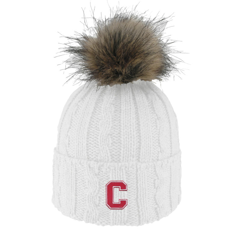 Cornell Knit Cuff Hat with faux fur pom-White