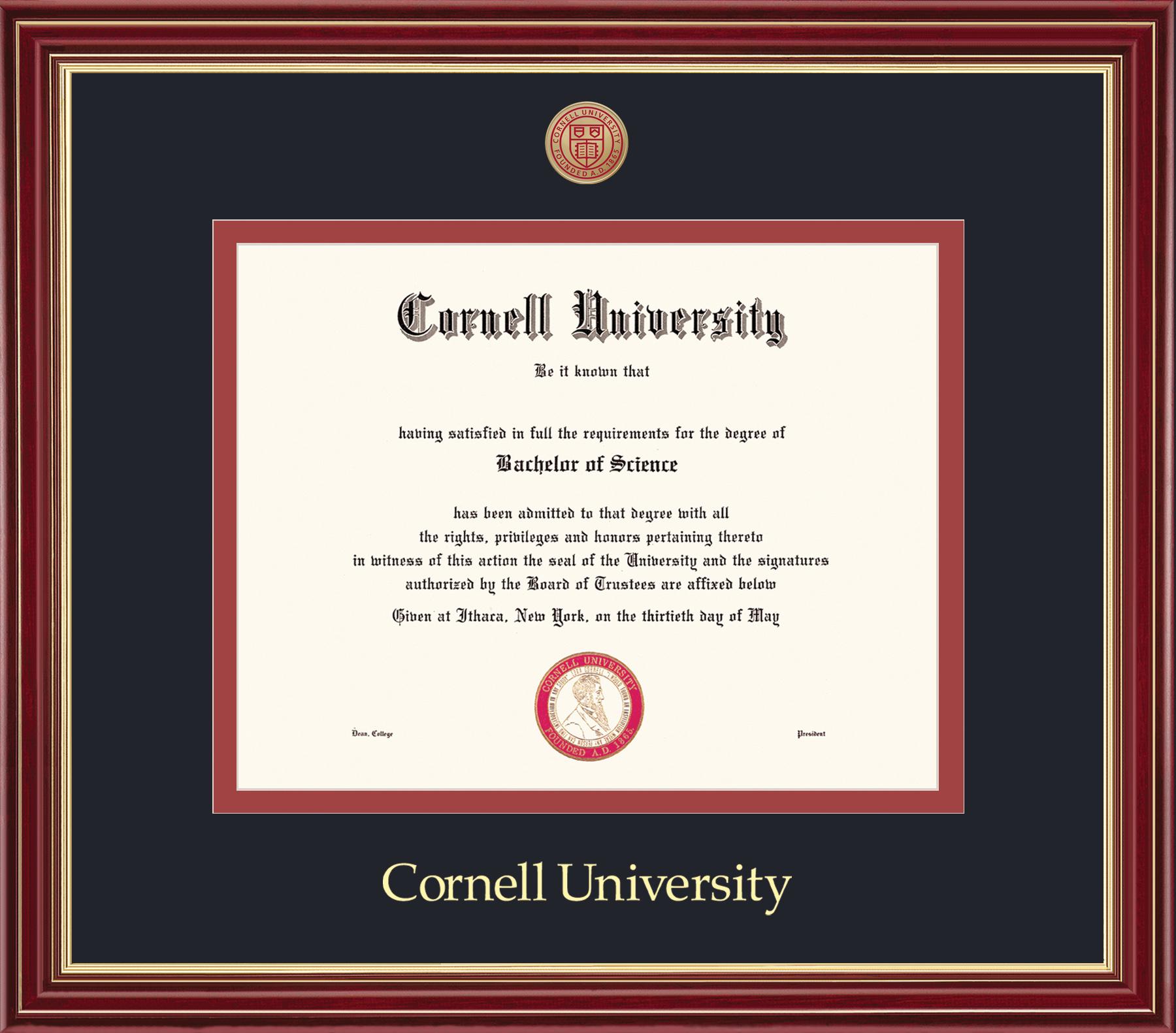 Cornell Diploma Frame-Mahogany Gold
