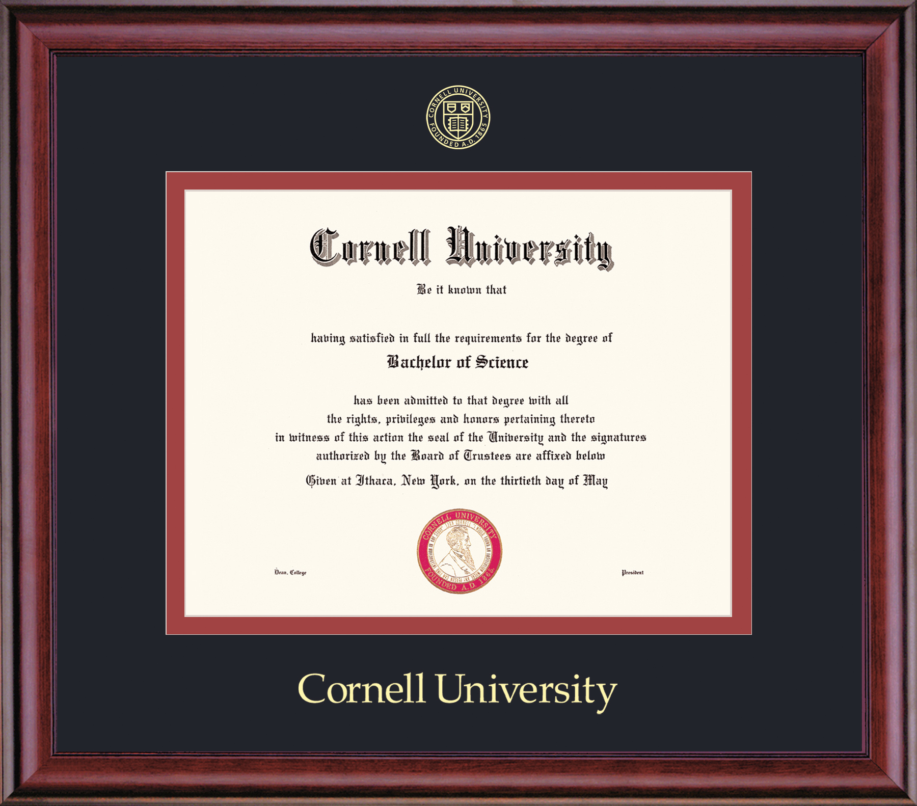 Cornell Diploma Frame-Classic Embossed Seal
