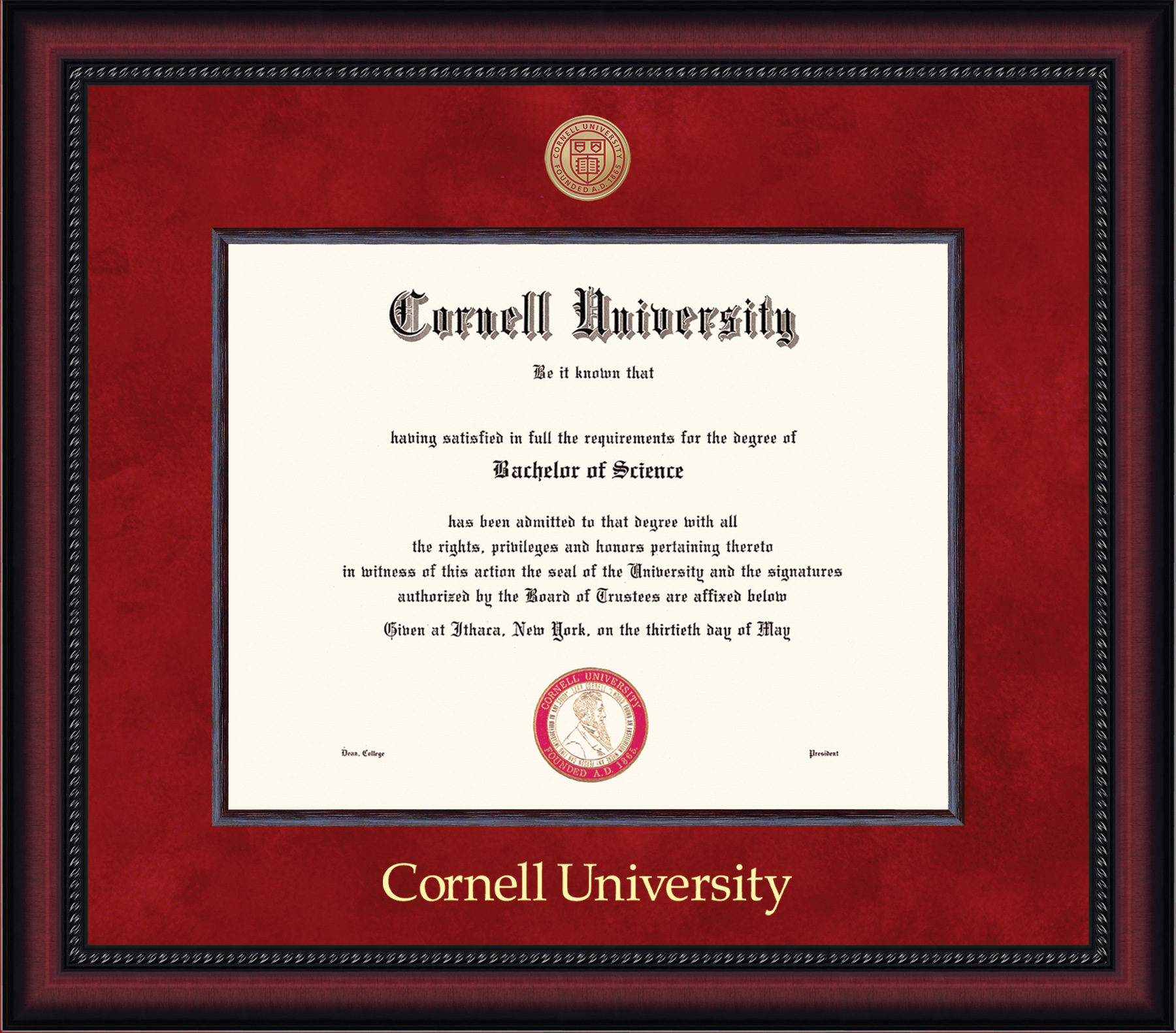 Cornell Diploma Frame-Legacy Red Sude Mat