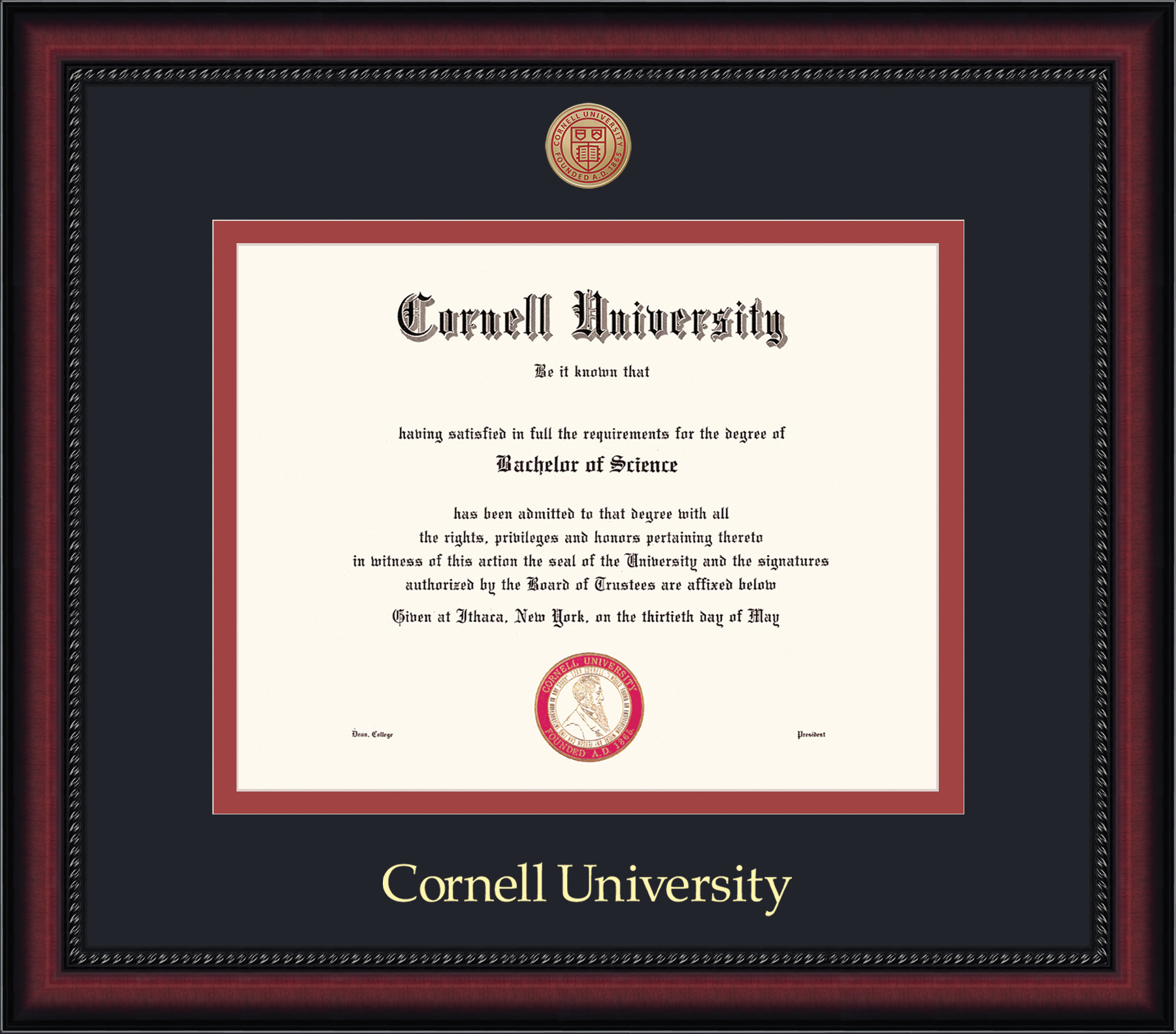 Cornell Diploma Frame-Legacy Black on Red Mat