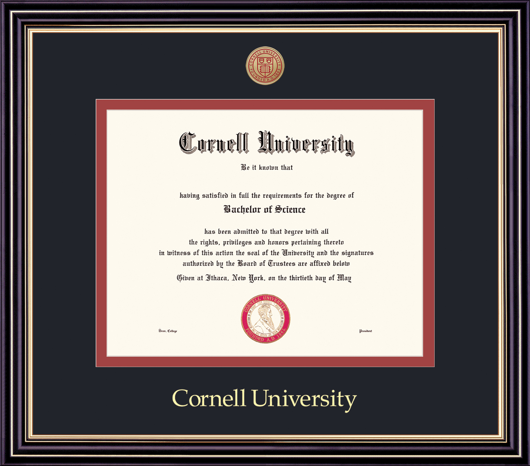 Cornell Diploma Frame-Prestige Black on Red Mat