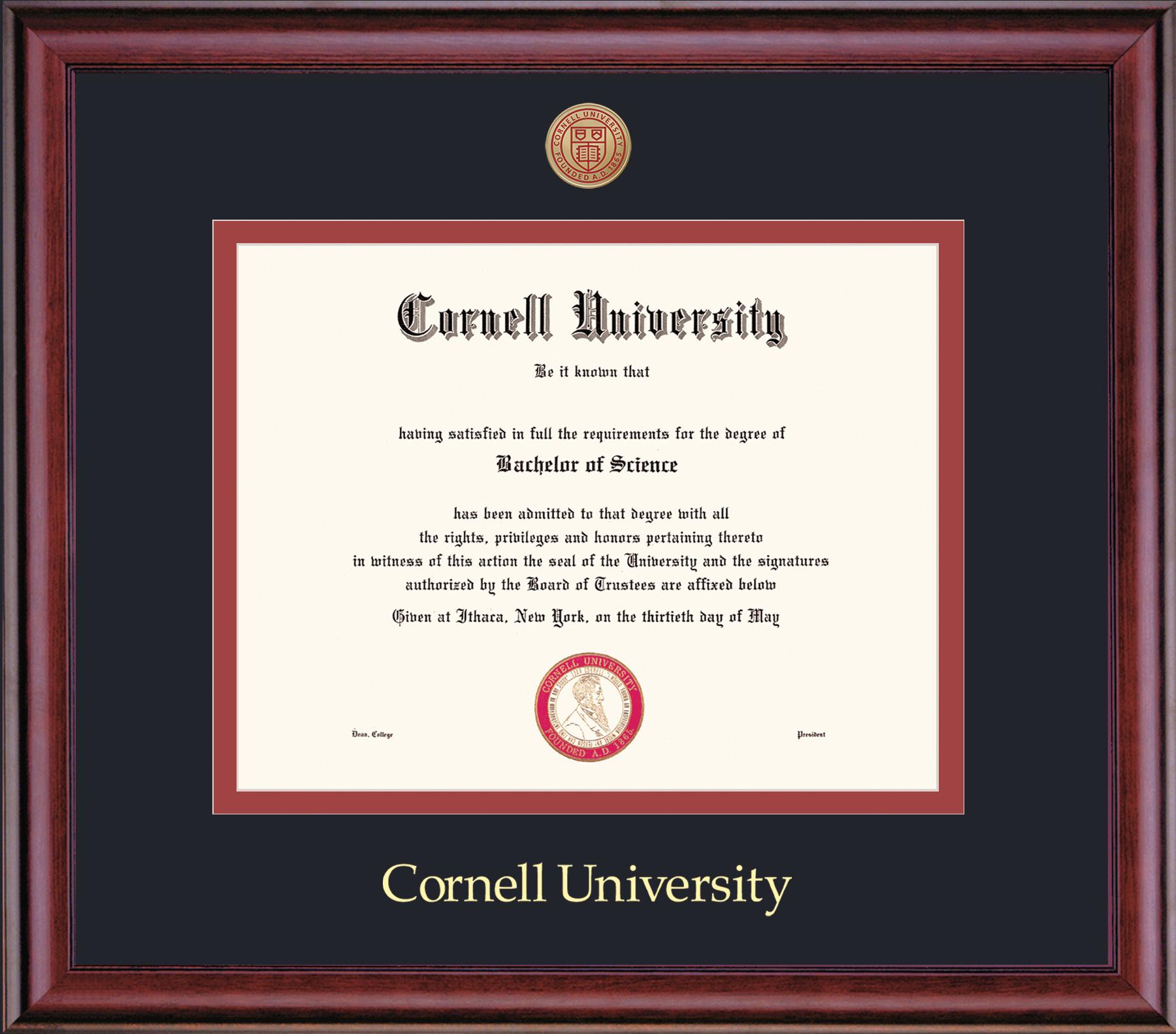 Cornell Diploma Frame-Classic Black on Red Mat